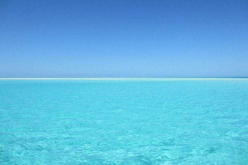 Beautiful blue ocean water and blue sky