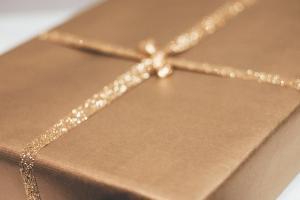 gray box with silver ribbon