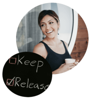 Organized woman relaxed and drinking coffee
